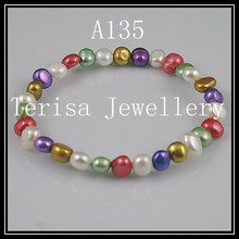 Gorgeous Freshwater Pearl Braclet 6-7MM Natural Color Pearl Jewelry Rhinestone Cloisonne Elastic Bracelet New Arriver(China)