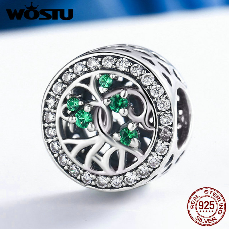 WOSTU New 100% Real 925 Sterling Silver Tree Life,Green CZ Beads Fit Original WST Charm Bracelet Jewelry Gift FIC179