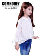School Girls Blouse for Teen Children Long Sleeve Shirt Baby Girls White Blouse Brand School Shirts Casual Child Kids Shirt(China)