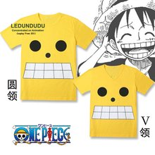 One Piece Cosplay Costumes V-Neck / O-neck Short-sleeve T-shirts Monkey D Luffy Captian Tops New World Tees Summer shirts