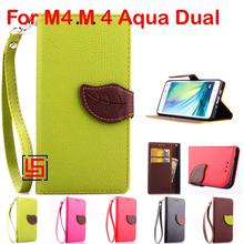 Cheap Leaf Clasp PU Leather Flip Clamshell Wallet Phone Case Cover Cove For Sony Xperia Experia M4 M 4 Aqua Dual E2353 E2303