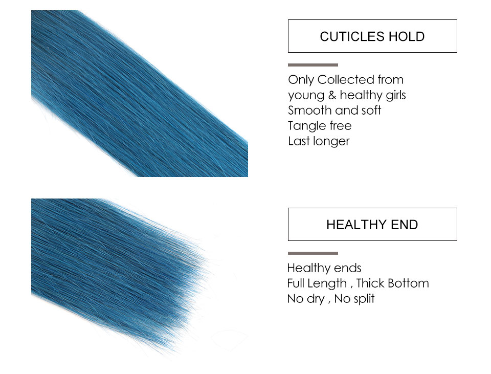 Hair Villa Pre-colored Human Hair Weave Brazilian Straight Hair Bundles OT Ice Blue 10-18 inch Non-Remy Hair Weft