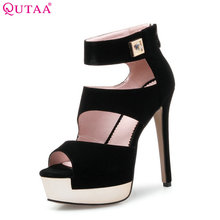 QUTAA 2017 Women Pumps Ladies Shoes Black Zipper Elegant Thin High Heel Scrub Platform Peep Toe Woman Wedding Shoes Size 34-39(China)