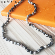 "Kundena 30"" 32"" 36""40""42"" 60""72"" Length long Knotted necklaces Healing Stone Knot Mala Necklace Yoga Grey J-asper bead Necklaces(China)"