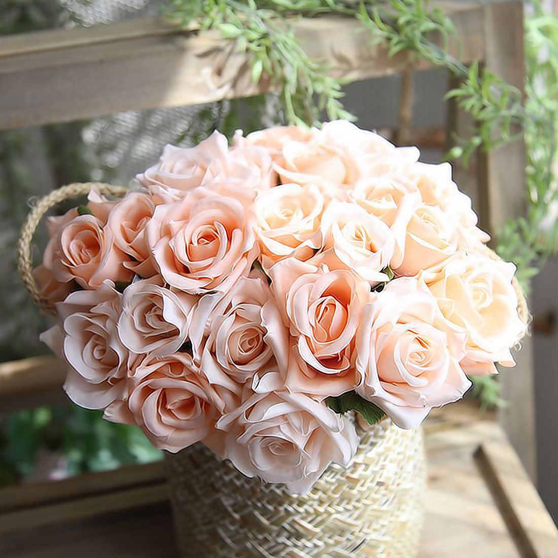 Stupendous Artificial Flowers Rose Bouquet For Wedding Decoration Fake Flowers Bedroom Home Party Decor Silk Hydrangeas Flower 9Pcs Set Download Free Architecture Designs Xaembritishbridgeorg