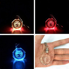 2017 Fashion BTS Bangtan Boys Style Colourful LED Light Rhinestone Pendant Keychain Key Chain Key Ring Gift