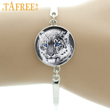 TAFREE Brand Wild animal Tiger Lion King Leopard bracelet elegant crowned crane bird charm protect wildlife men women gift NS340