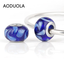 10 Pcs a Lot Royal Blue Glass Beads Round Silver With White Flower Lampwork Czech Bead Charm Fit For Pandora Charms Bracelets(China)