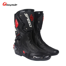 Riding Tribe Microfiber Leather Motorcycle Boots Pro Biker SPEED Drop Resistance Racing Moto Motorbike Motocross Boots(China)
