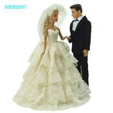 2 Sets = 1x Wedding Party Dress Lace Gown Bridal Veil + 1x Groom Men Formal Suits Tuxedo Shirt Clothes For Barbie Ken Doll Gift(China)