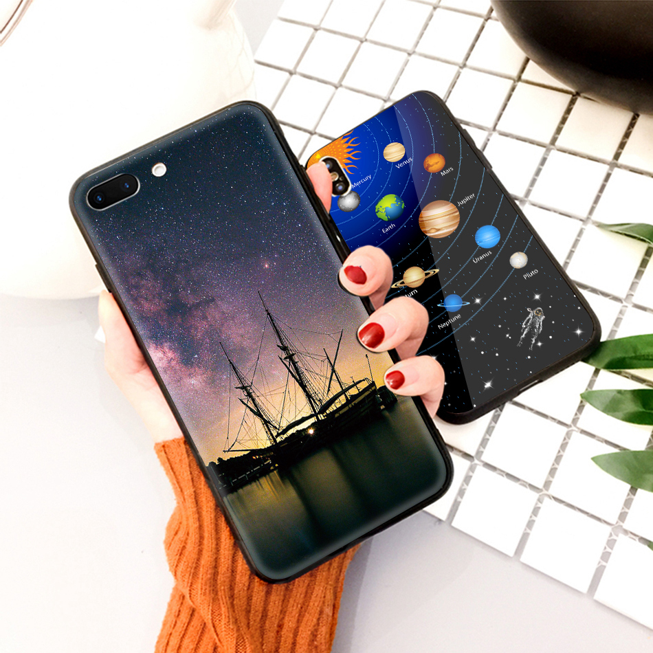 TOMKAS Star Sky Pattern Glass Case For iPhone X 7 8 6 6 s Cover Phone Cases For iPhone 7 8 6 6s Plus X Case Silione TPU PC Coque (15)