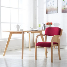 Simple modern solid wood desk chair Talk computer office stool meeting restaurant armrest backrest chair Home Furniture