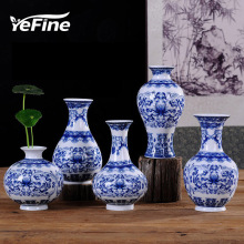 YEFINE Vintage Home Decor Ceramic Flower Vases For Homes Antique Traditional Chinese Blue And White Porcelain Vase For Flowers