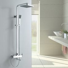 Top Quality Brass Extensible Rainfall Bathtub Shower Rail Mixer with Sliding Bar Bathroom Shower Faucet Set with Shower Heads