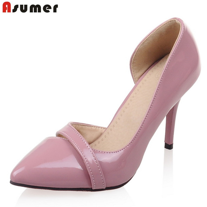 ladies pumps pu patent leather summer 2017 stiletto high heels pointed toe concise cut-outs plus size 34-44 dress shoes<br><br>Aliexpress