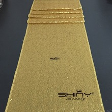 Best Quality Sequin Table Runner Wholesale Dark Matte Gold Sequin Table Cloths Sequin Linens Sequin Table Runner(China)