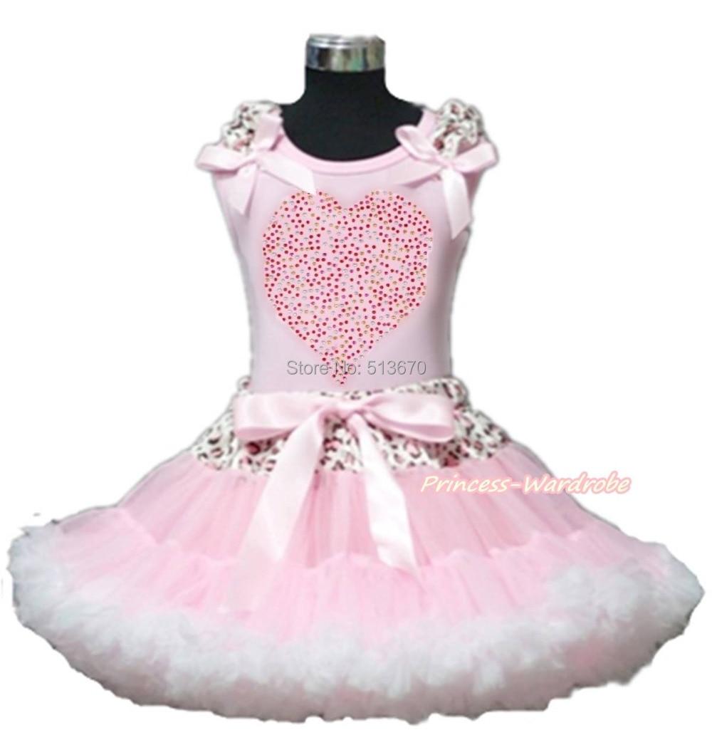 Valentine Rhinestone Rainbow Heart Pink Top Leopard Waist Pink White Skirt 1-8Y MAPSA0197<br>