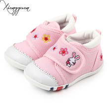 Hot Kids Baby Shoes Embroidered Rabbit Rubber Sole Baby Boy First Walking Sports Shoes For 1-3 Years Old