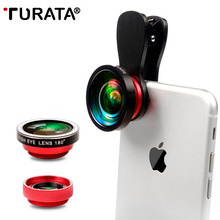 Buy TURATA Fish Eye Lens 3 1 Clip-on Cell Phone Camera 180 Degree Fisheye Lens+ 0.4 Wide Angle+ 10X Macro Lens iPhone Xiaomi for $9.24 in AliExpress store