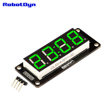 "4-Digit LED 0.56"" Display Tube GREEN (clock, double dots), 7-segments, TM1637, disp. size 50x19mm(China)"