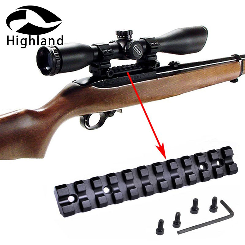 For Ruger 10//22 Top Weaver Picatinny/& Dovetail Rail Base+High Profile Scope Ring