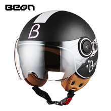 BEON Men Women Motorcycle Half Helmets Open Face Retro Motorbiker Open FaceHelmets Moto Casque Casco Motocicleta Capacete