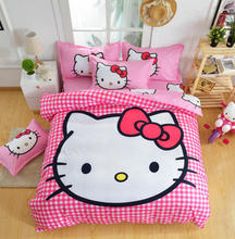 XINLANISNOW Promotion!New Design Hello Kitty Bedding Set 4Pcs Cotton Cartoon Bed Linen for Kids Bedclothes Duvet Cover Bed Sheet