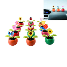 New Solar Powered Flip Flap Dancing Flower For Car Decor Automatic Dancing Flower Toy Gift(China)