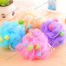 1pcs Solid Bath Balls Rich bubbles Body Flower Bath Sponge Shower Brush Body Wash Scrubber Mesh Soft Puff(China)