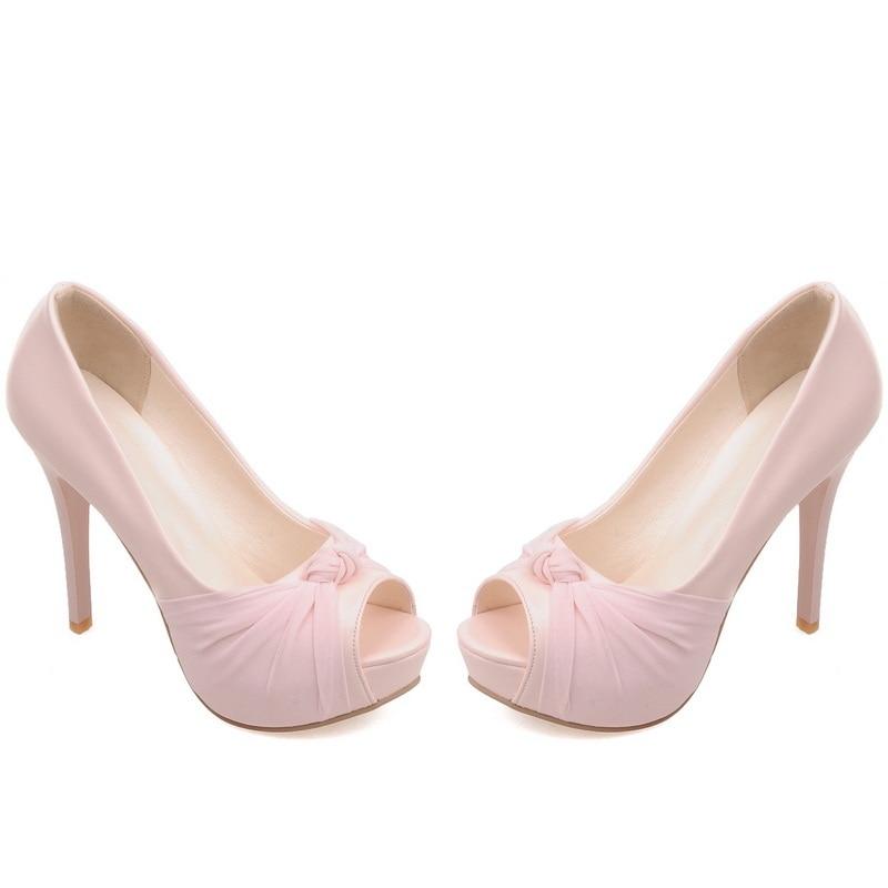 MORAZORA Hot sale new shoes woman pumps big size 33-43 platform shoes high heel 12cm wedding shoes elegant peep toe 12