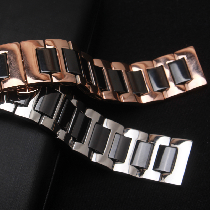 Polished Ceramic and rose gold metal Watch strap bracelet 20mm 22mm Watch Accessories butterfly buckle deployment replacement <br>