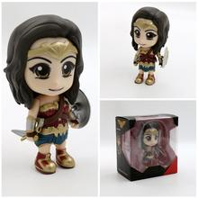 Anime Justice League Wonder Woman Action Figure toy scale painted Bobble Head PVC Modle figure Doll Brinquedos Kids Girls Gifts(China)