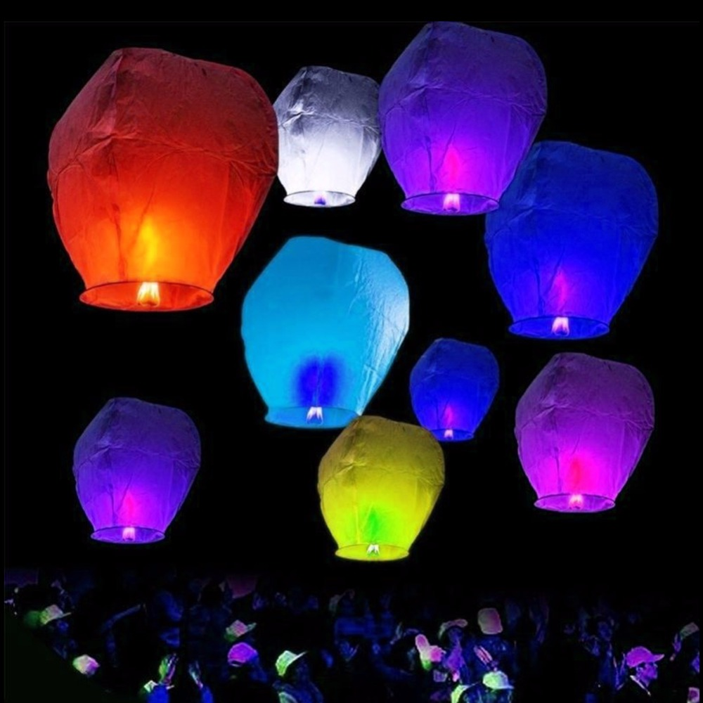 10 Paper Chinese Lanterns Wishing Hole Lights for Wish Party Wedding 2 Colors for Choose(China)
