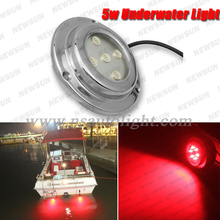 Stainless Steel IP68 Underwater LED Boat Light 12V 5W Yacht Light Red Boat Marine LED Light Undewater Light Lamps Red FreeShip