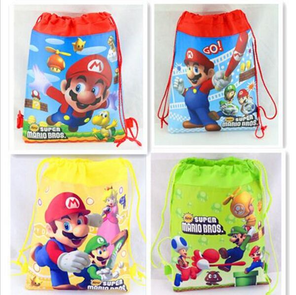 New Super Mario The First Cartoon Kids Drawstring Printed Backpack Beach Shopping School Traveling Bags 34*27CM<br><br>Aliexpress