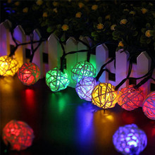 Waterproof  Solar Powerd String Light  6M 30 LED Outdoor Rattan ball Fairy lamp Landscape Patio Garden Holiday Camping Decora