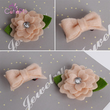 Cute Girls Peach Color Flower with Rhinestone Hairpins Clips Kids  DIY Garments Hair Decorative Accessories