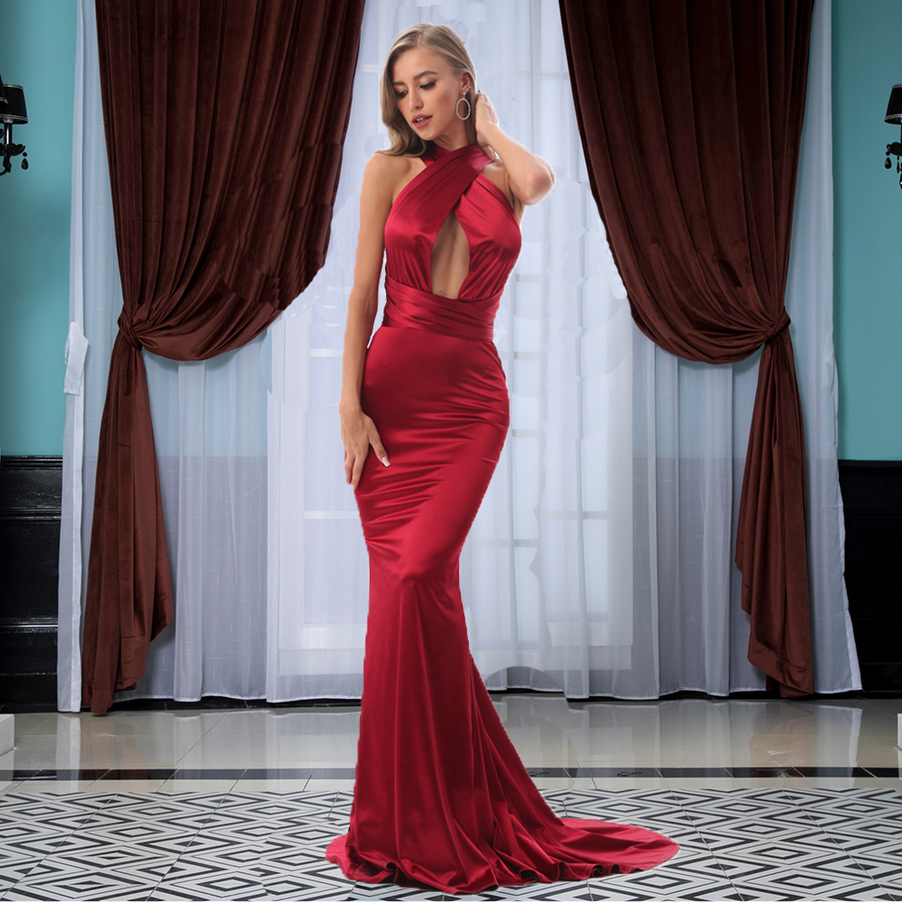 Sexy Halter Shiny Satin Mermaid Evening Party Dress Bodycon Floor Length DIY Straps Hollow Out Open Back Maxi Dress
