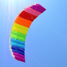 free shipping high quality rainbow dual line Stunt Power kite boarding with handle line parafoil kitesurf windsock inflatable