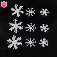 100Pcs Artificial Flannelette White Snow Flowers Winter New Year Christmas Snowflakes Kids Bedroom Wall Stickers Home Decoration(China)