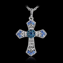 Crystal Cross Men Necklaces Pendants Silver Color Maxi Steampunk collares Vintage Statement Necklace(China)