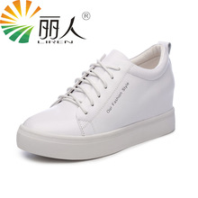 LIREN Size 34-39 Flat Shoes 2017 Lace Up Genuine Leather Casual High-quality Fashion Women Shoes White Black(China)