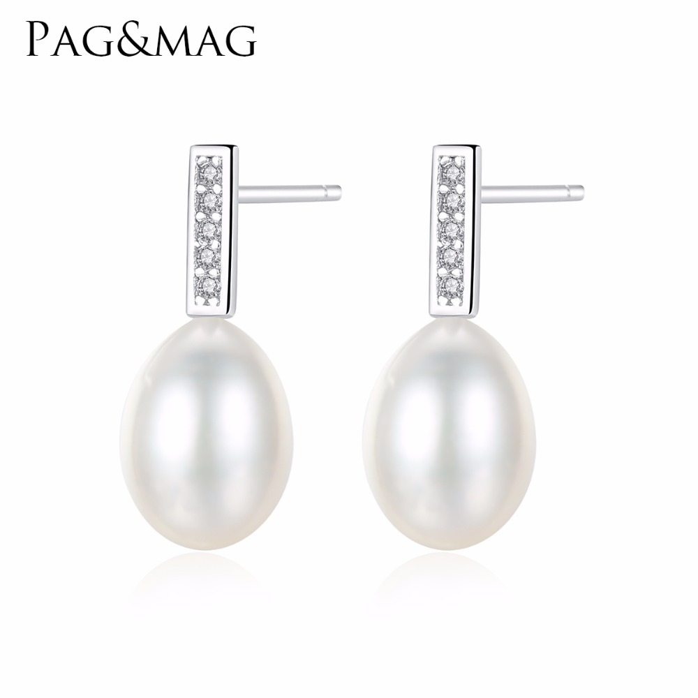 New Fashion Women/'s 7-8MM Natural White Freshwater Pearl 925 Silver Stud Earring