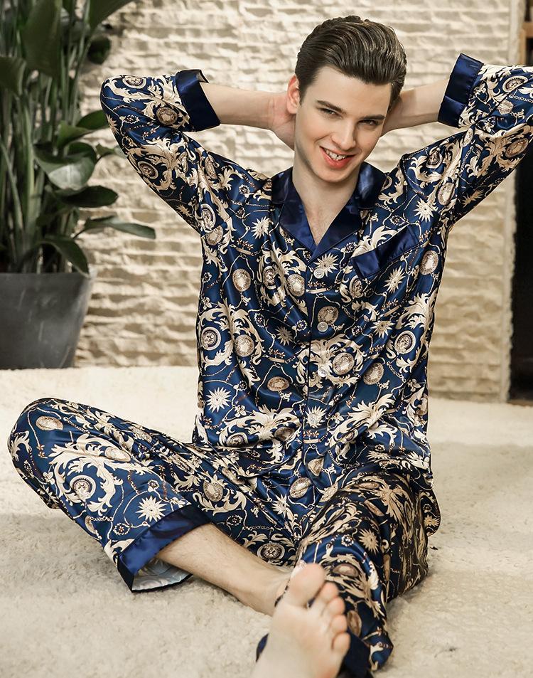 2019 2018 Luxurious Mens Pajama Set Twe Pieces Summer Cool Print New ... 28bf38ac0