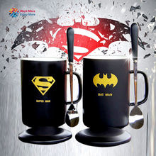 Creative Cartoon Batman Novelty Avengers Mug superman Summer Cool Winter Hot Drink Milk Coffe Juice water Cup With Spoon(China)