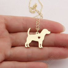 Beagle Necklace Stocking Stuffer Pendant Puppy Heart Dog Lover Memorial Pet Necklaces & Pendants Charms Christmas Gift Lead Free