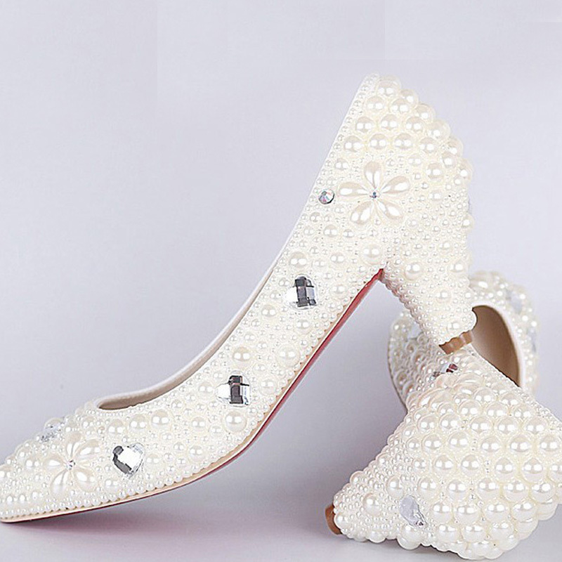 New Style  High Quality Luxurious White Imitation Pearl Wedding Shoes Middle Spike Heel Shoes for Woman Honeymoon<br><br>Aliexpress