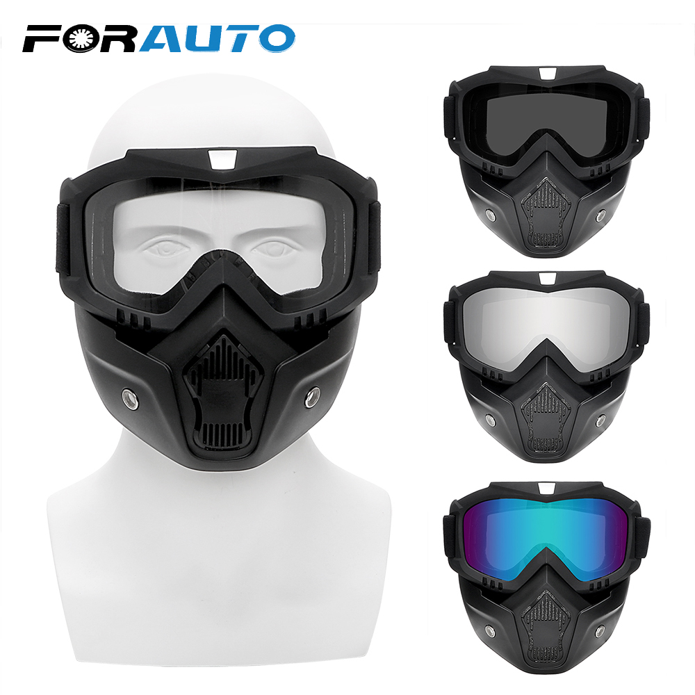 Motocross Motorcycle Goggles Detachable Mask Dirt Bike Windproof Sports Goggles