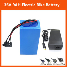 More discount 36v 9ah battery 500W 36V 9AH Lithium ion battery 36V ebike battery with PVC case BMS 42V 2A charger Free shipping(China)