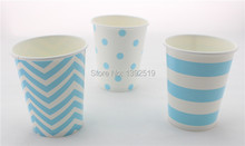 Free Shipping 48pcs Blue Paper Cups Striped Dot Chevron Drinking Cups Personalized Baby Shower Holiday Party Tableware